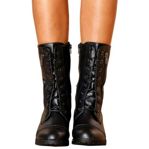 Womens Combat Lace Zip Motorcycle Black Boots