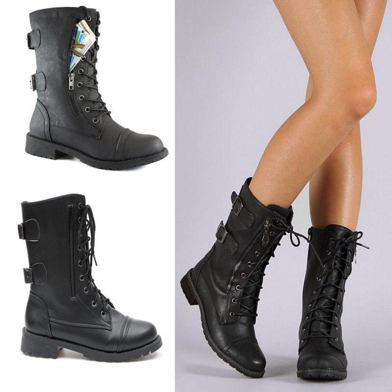 women combat military boots lace up zipper