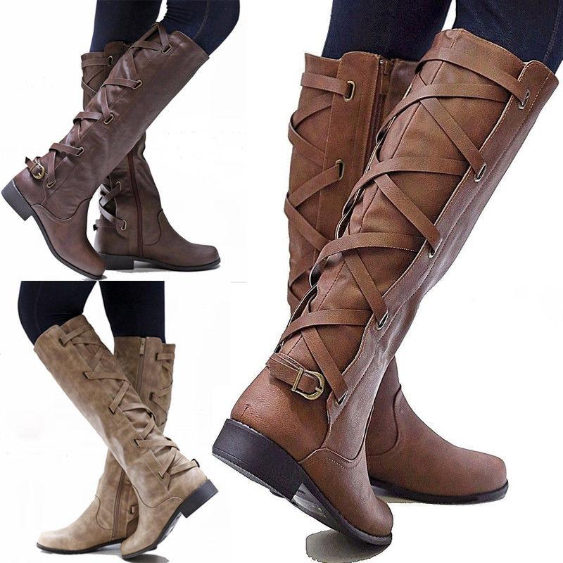 women flat low heel knee high ladies