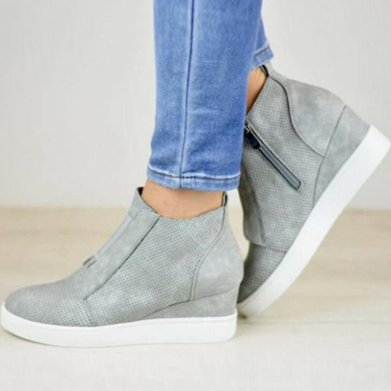 Women Wedge Mid Heel Ankle Trainers High 6-10.5