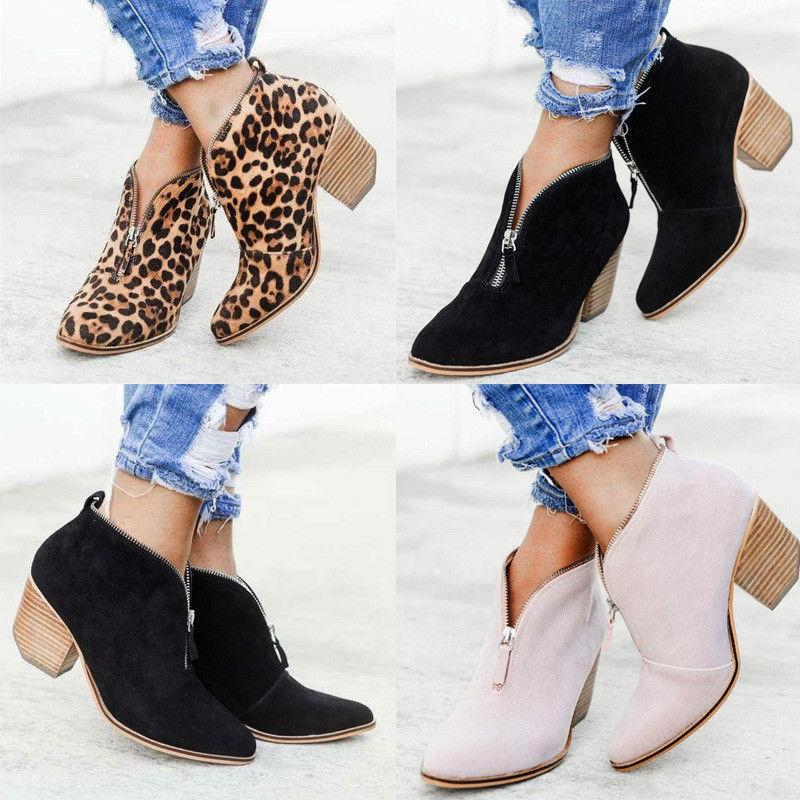 Women Ankle Boots Casual Chunky Size