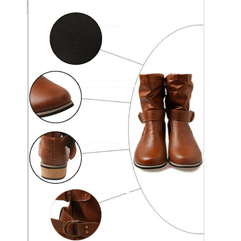 Women Motorcycle Boots Buckle Round Toe Low
