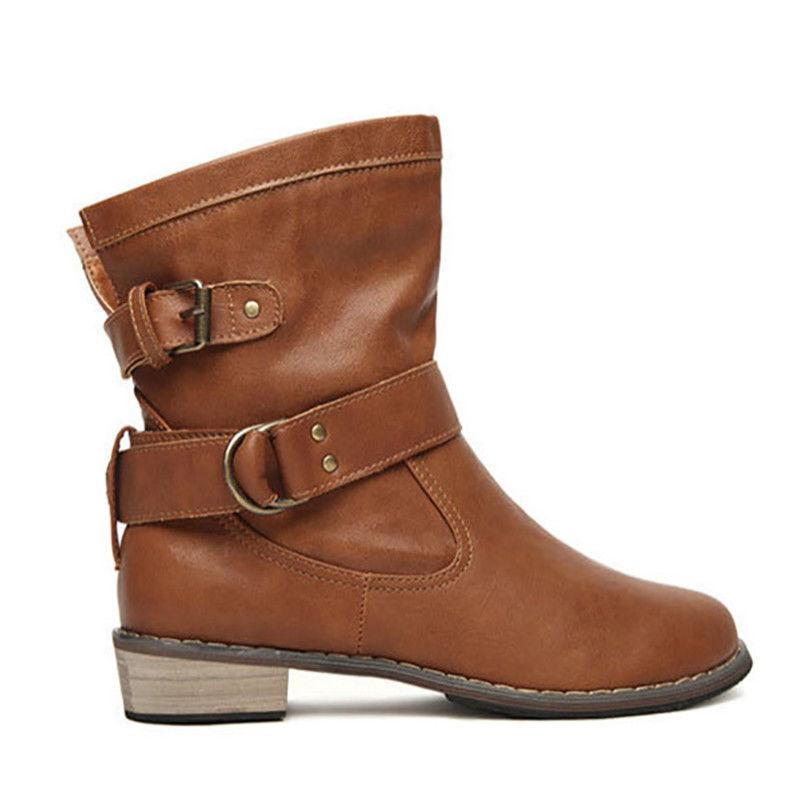 Women Motorcycle Boots Buckle Winter Round