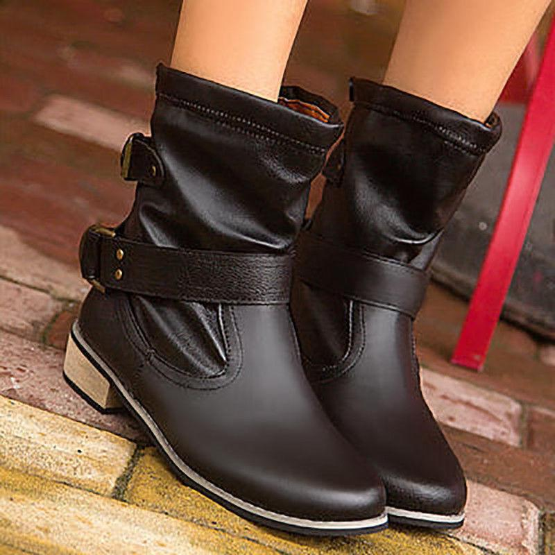 Women Boots Buckle Round Low
