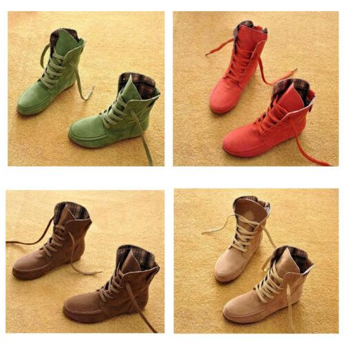 Women's Ankle Boots Nubuck Leather Moccasins Lace-Up High to