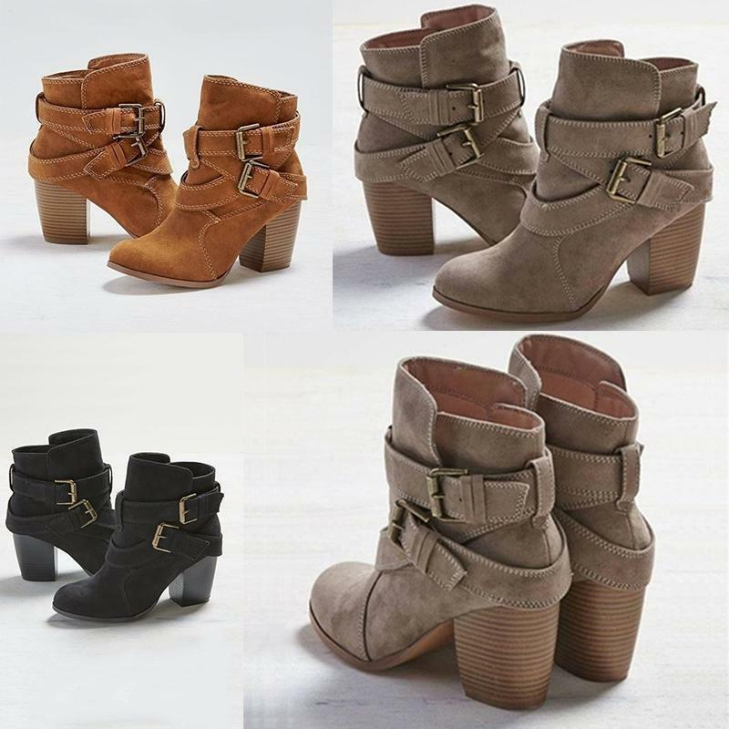 USA Block Heel Short Ankle Boots Casual Martin Shoes