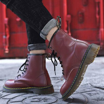 Women's Casual Retro Boots Classic Leather Martens Ankle Boots Shoes