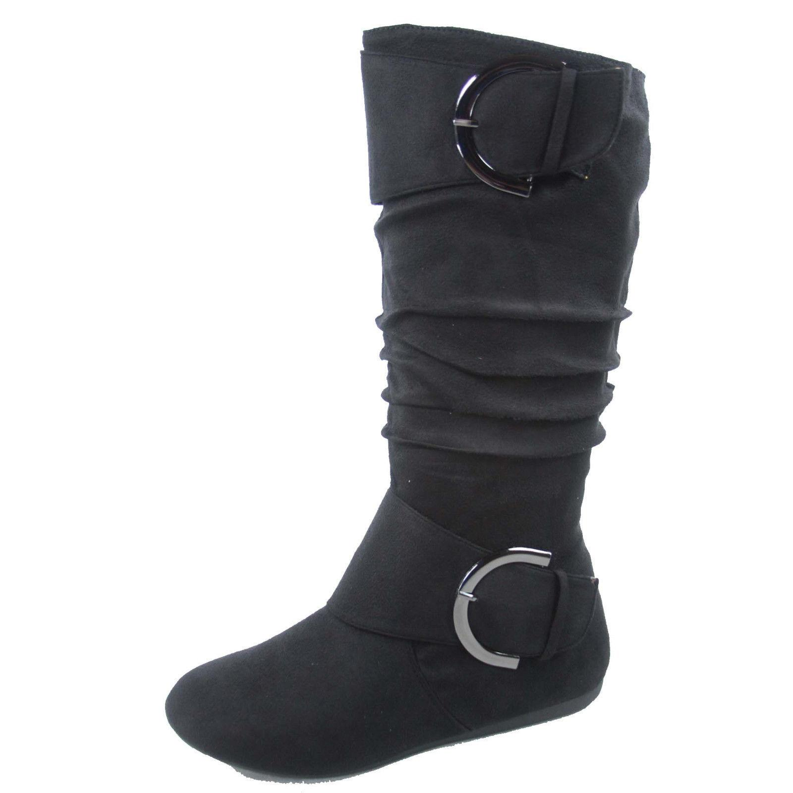 Women's Slouch Comfort Casual Flat Calf Round Toe Boot shoes