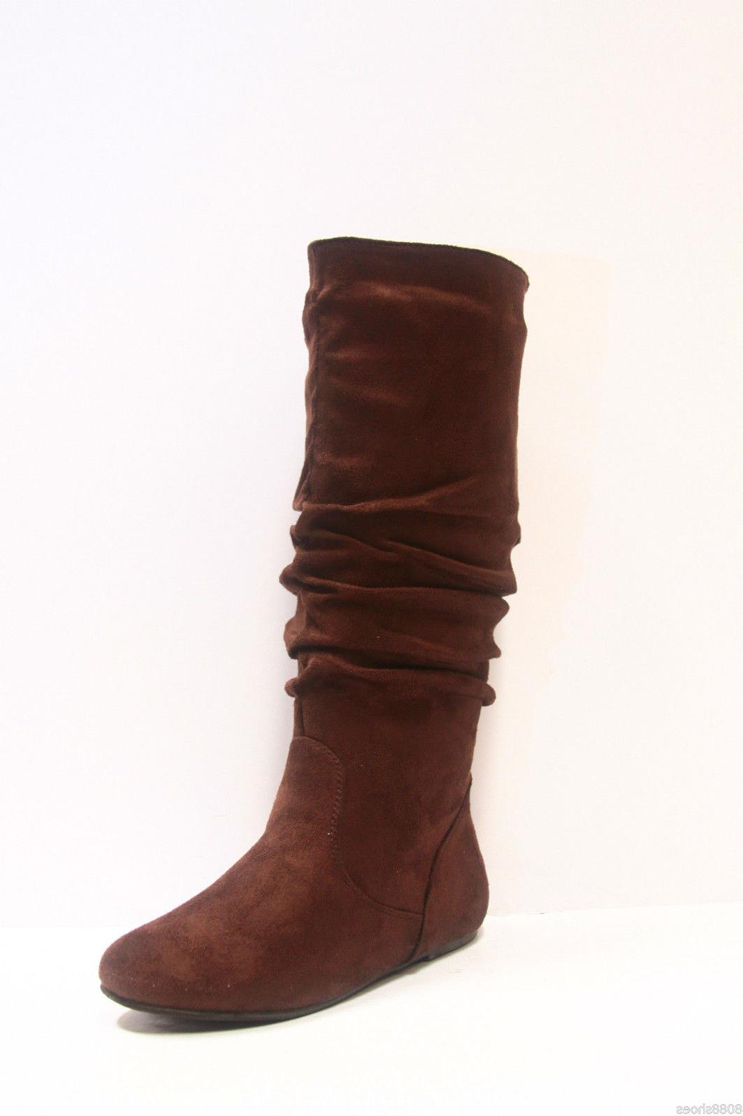 Women's Casual Flat Mid Calf Round Toe Boot shoes