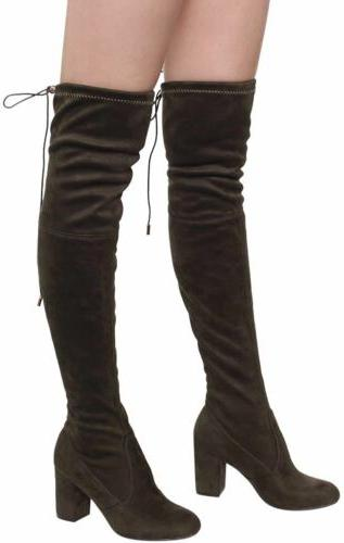 Women's Faux The Knee Stretchy Thigh Boots