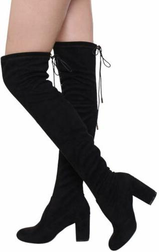 Women's Suede Over The Thigh Chunky Boots