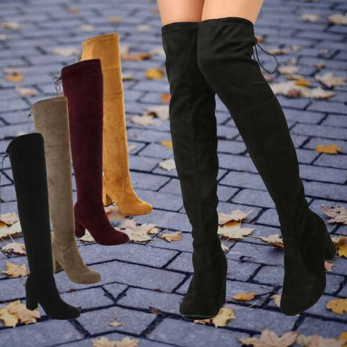 women s faux suede over the knee
