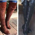 Women's Lace Up Boots Over The Knee High Combat Military Sho