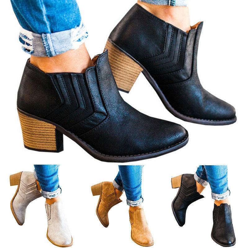 Womens Mid Booties Ankle Zipper Low Shoes Wedge Pumps