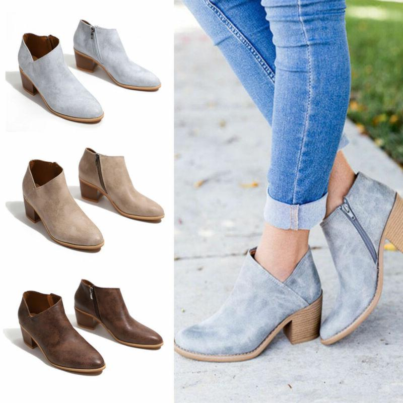 Womens Mid Ankle Fashion Low Shoes Wedge Pumps