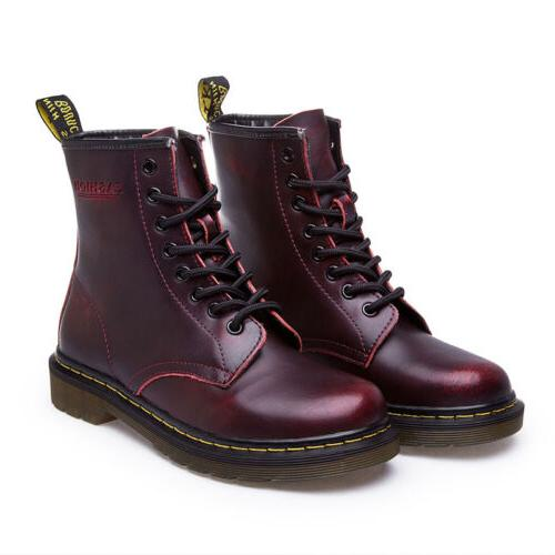 Women's Martin Boots Lace-Up Casual Antiskid Leather Round Heel