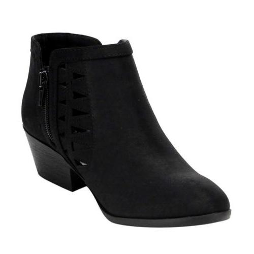 Soda Women's Out Stacked Block Ankle Booties