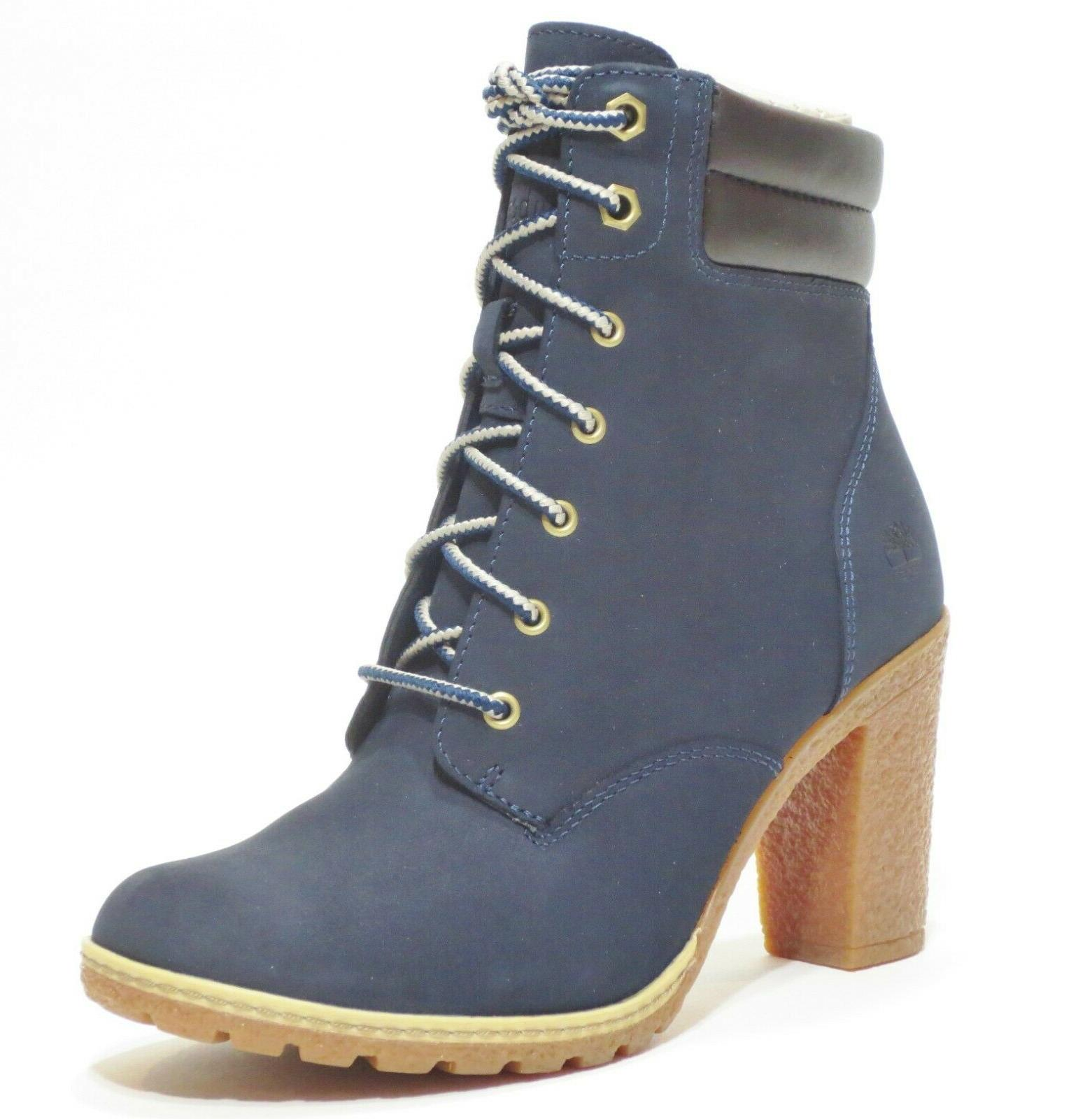 Timberland Women's Tillston High Heel Navy Blue Leather Boot