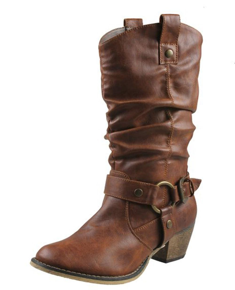 Women's Wild-02 Mid Calf Western Style Cowboy Boots