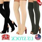 WOMEN THIGH SLIM OVER KNEE OPEN TOE STRETCH KNIT BOOTS HIGH