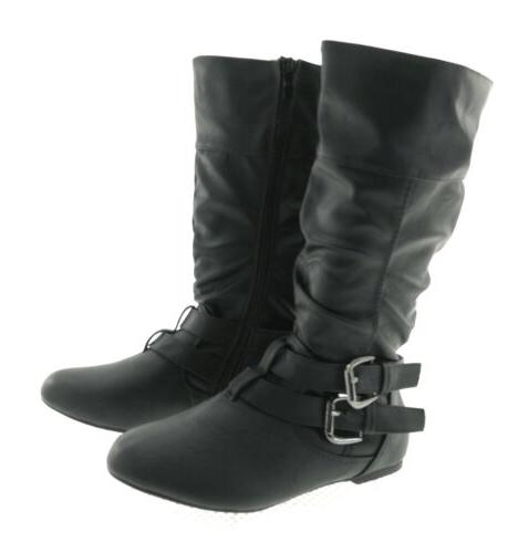 Forever Womens Black Boots Casual Winter Flat Side Zipper Si