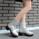 Womens Bloch Heels Creepers Ankle Boots Lace Up Patent Leath