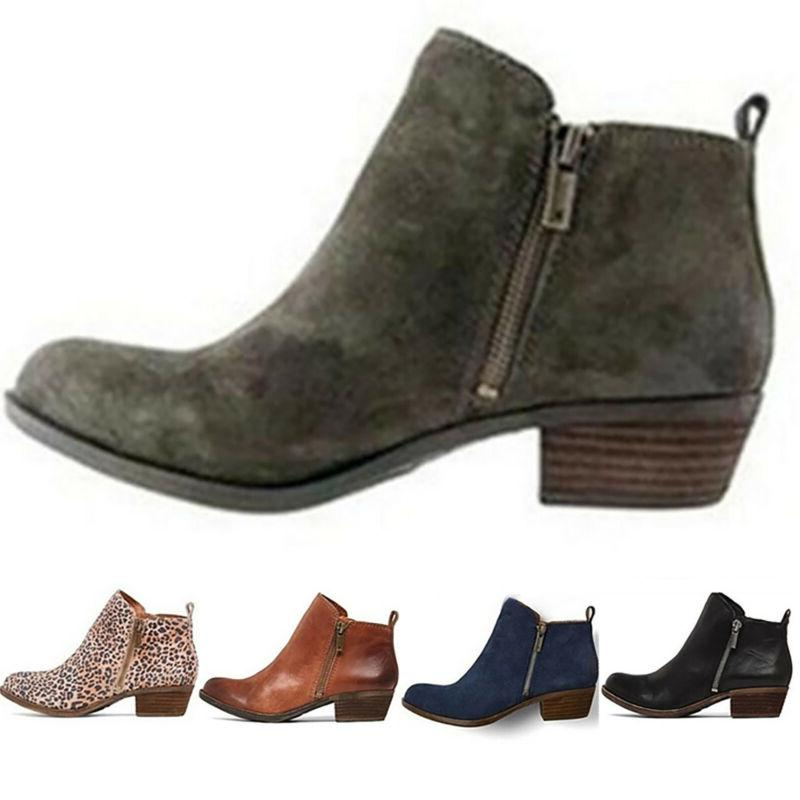 Womens Booties Low Heels Ankle Boots