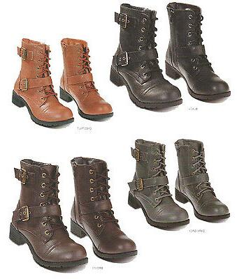 Womens Combat Military Boots Lace Up Buckle Women Motorcycle