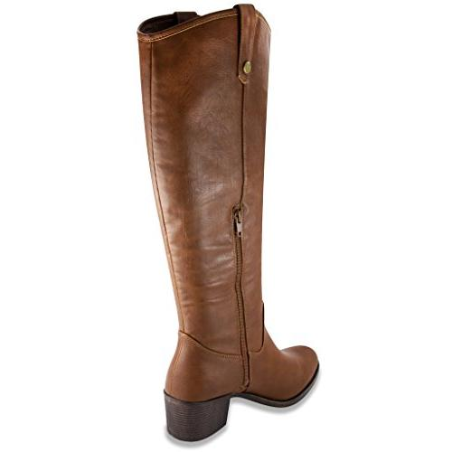 Rampage Womens Italie Riding Boot 7 Cognac Tumbled