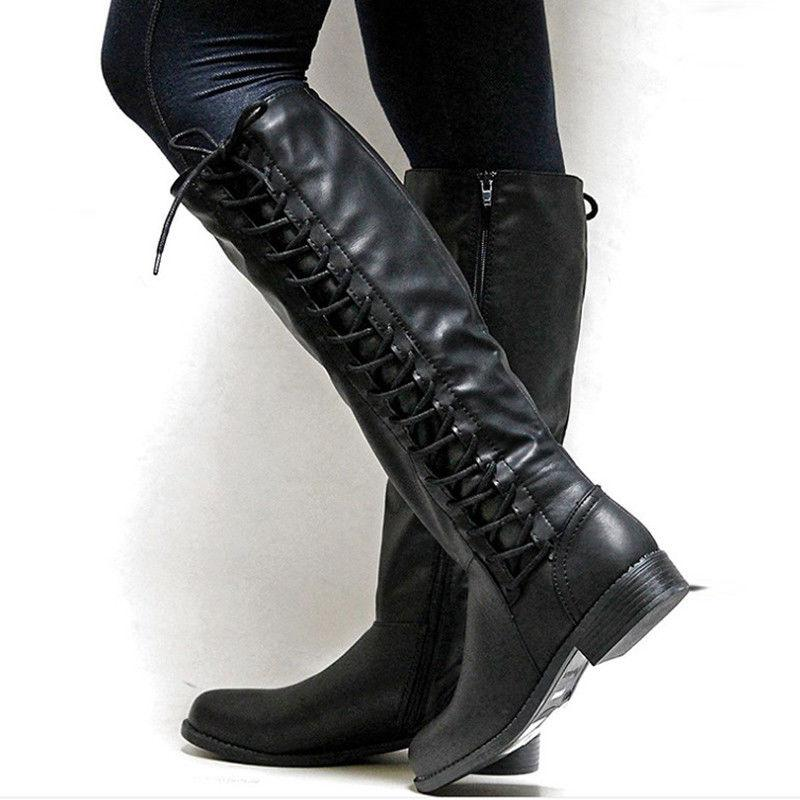 Women Mid Calf Boots Ladies Low Riding Shoes Size