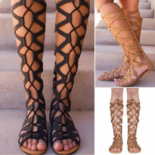 Womens Knee Cut Out Lace Up Flat Size 7.5-10