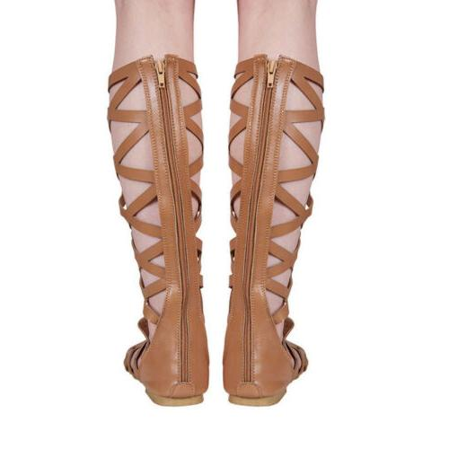 Womens High Out Lace Up Flat Gladiator 7.5-10