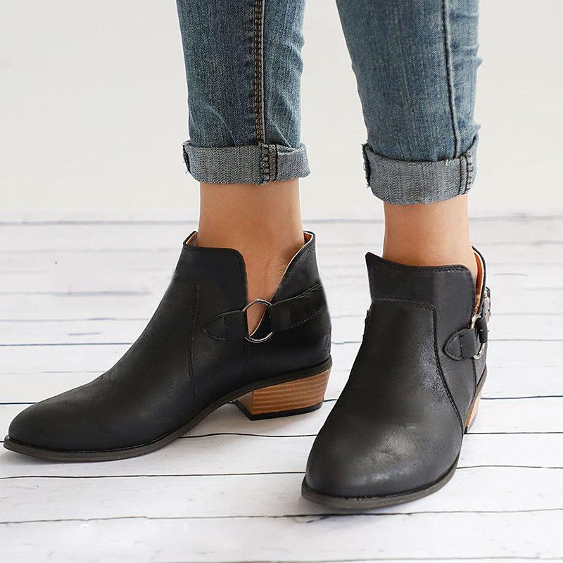 Womens Leather Ankle Boots Flats Ladies Beach Low Heel Size