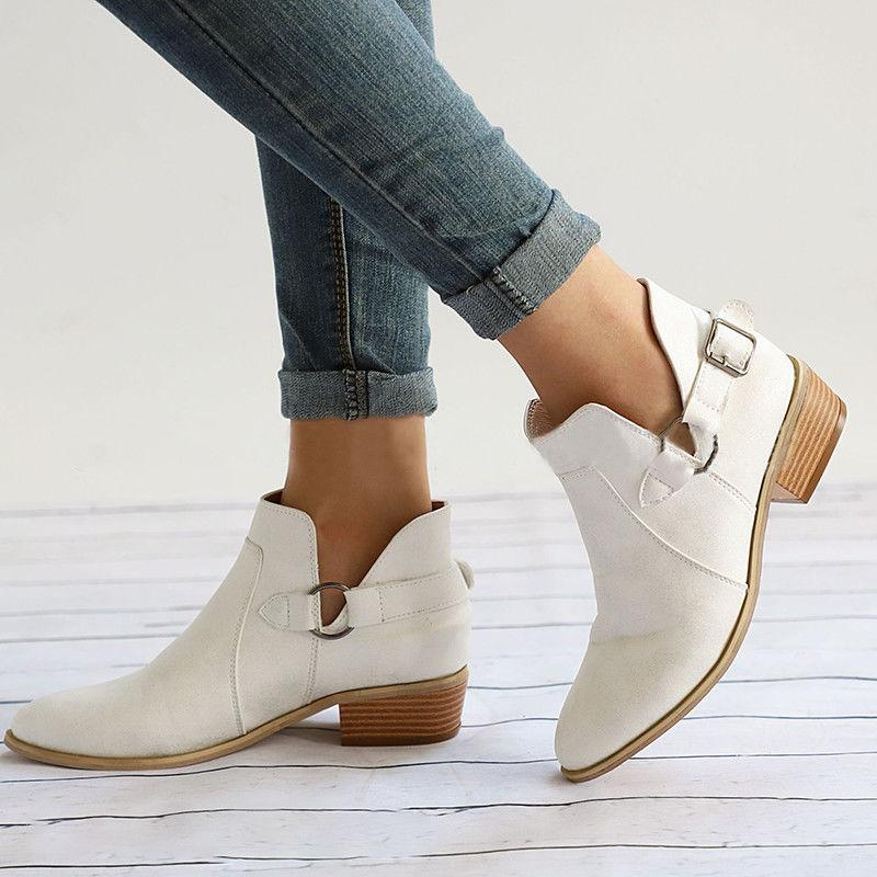 Womens Leather Boots Flats Casual Beach Size