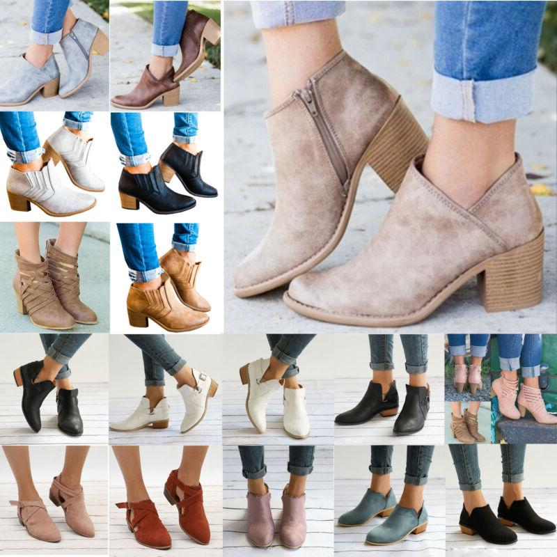 Womens Ankle Zipper Low Shoes Wedge Pumps