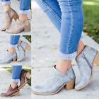 Womens Short Chunky Ankle Booties Pointed Toe Mid Block Heel