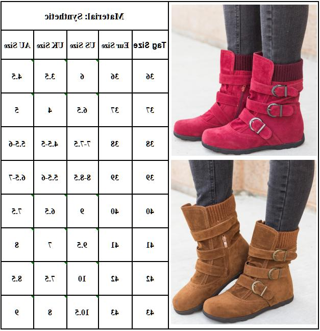 Womens Ankle Boots Fur Snow Buckle Flats Shoes Size