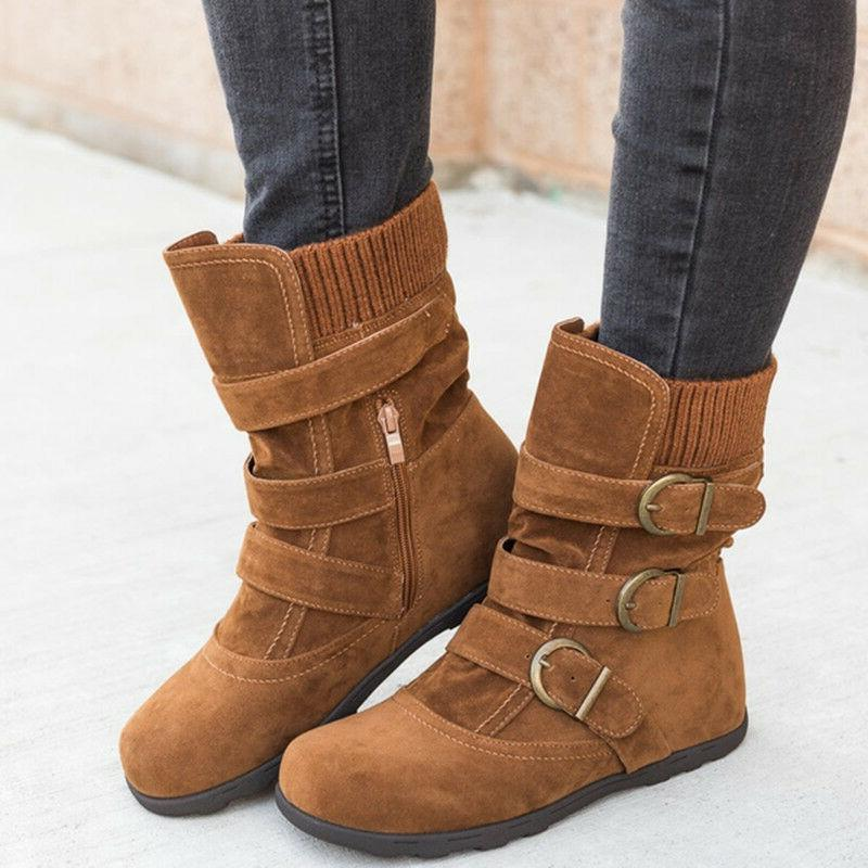 Womens Warm Boots Ladies Buckle Flats Size 9.5