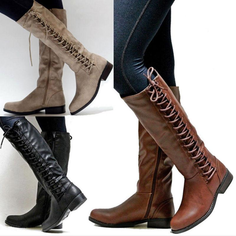 Womens Knee High Boots Ladies Flat Side Lace Up Motorcycle R