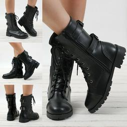 Ladies Women Military Boots Army Combat Ankle Lace Up Flat B