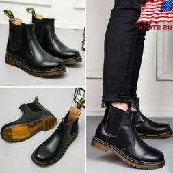 Mens Womens Chelsea Boots Smooth Leather Ankle Bootie Slip O