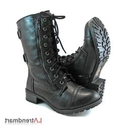 Women Military Combat Mid Calf Motorcycle Lace Up Boots Zipp