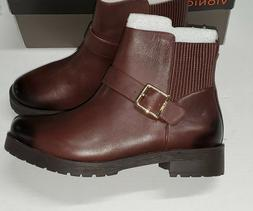 "Vionic ""Mystic Mara"" CHOCOLATE BROWN  Leather Strap Ankle Bo"