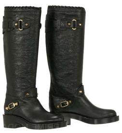 NEW BALENCIAGA ARENA BLACK LEATHER  GOLD STUDS DETAIL BOOTS