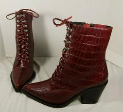 NEW JEFFREY CAMPBELL ENZYME LACE UP RED CROC EMBOSSED LEATHE