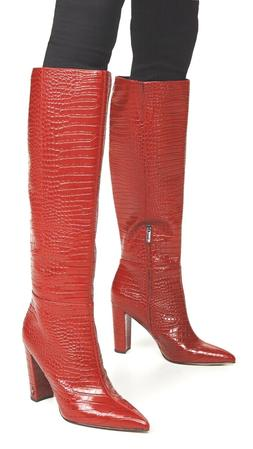 New Sam Edelman Raakel 2 Boots Shoe Red Croc 6.5US