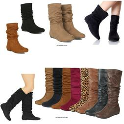 New Women Flat Heel Mid Calf Ankle Boots Faux Suede PU Pull