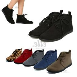 New Women Lace Up Slip On Faux Suede Oxford Flat Heel Ankle