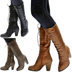 New Women FCa36 Black Tan Brown Combat Lace Up Riding Mid-Ca
