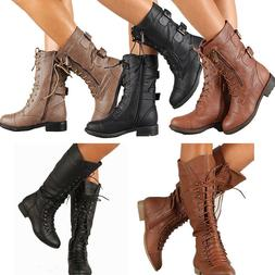NEW WOMEN MID CALF COMBAT KNEE HIGH RIDDING BOOT LACE UP LOW